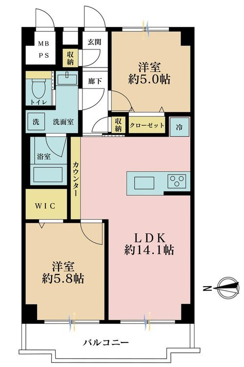 2LDK、価格4790万円、専有面積54.6m2、バルコニー面積6.27m2
