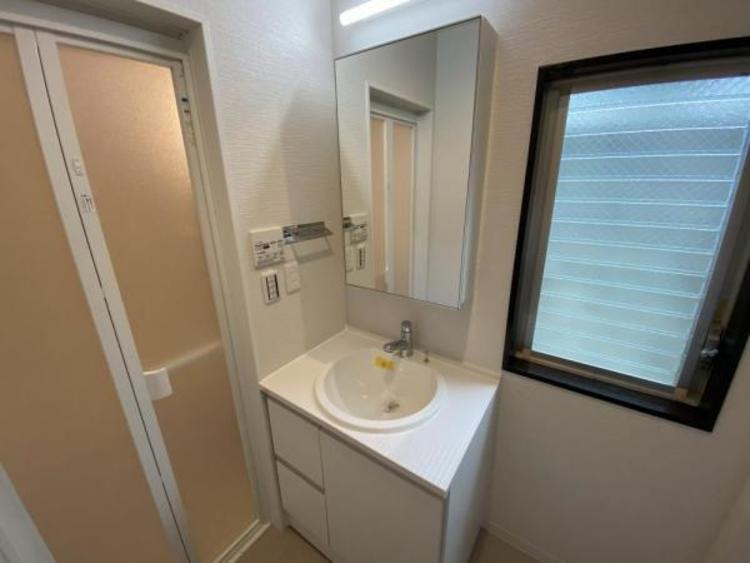 3面鏡、シャワーヘッド付のスタイリッシュな洗面台