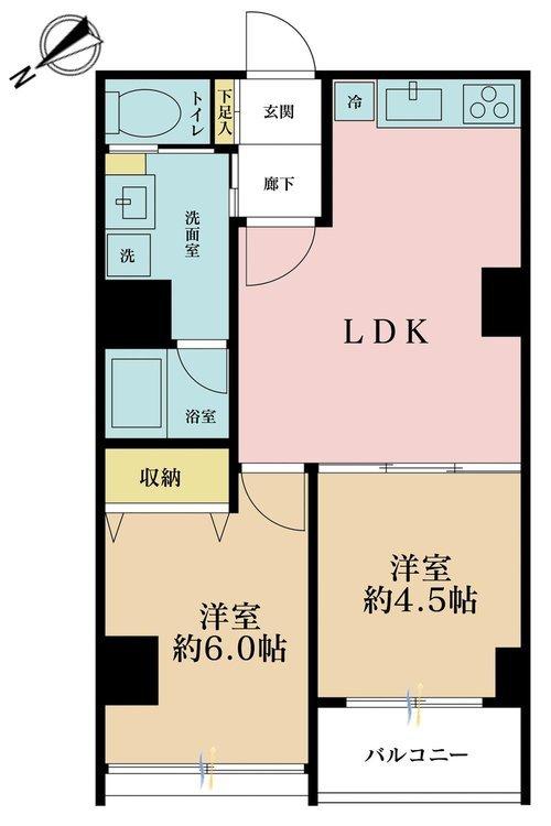 2LDK、価格3150万円、専有面積48.33m2、バルコニー面積3.24m2
