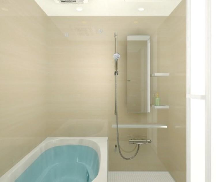 ダウンライトのやわらかな光がナチュラル空間を演出する居心地の良いバスルーム