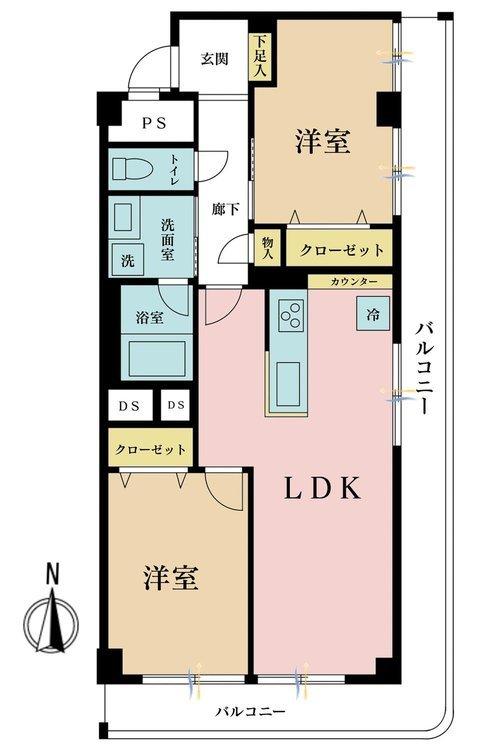 2LDK、価格3680万円、専有面積55.32m2、バルコニー面積17.4m2