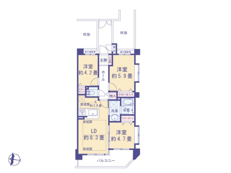 アウトフレーム工法でお部屋に梁や柱がなく、お部屋を有効に使えます。各お部屋には収納空間があり、生活空間を快適に使うアイデアがあります。
