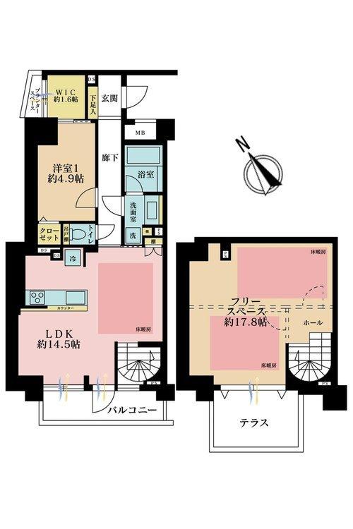 1LDK、価格8580万円、専有面積83.34m2、バルコニー面積5.89m2