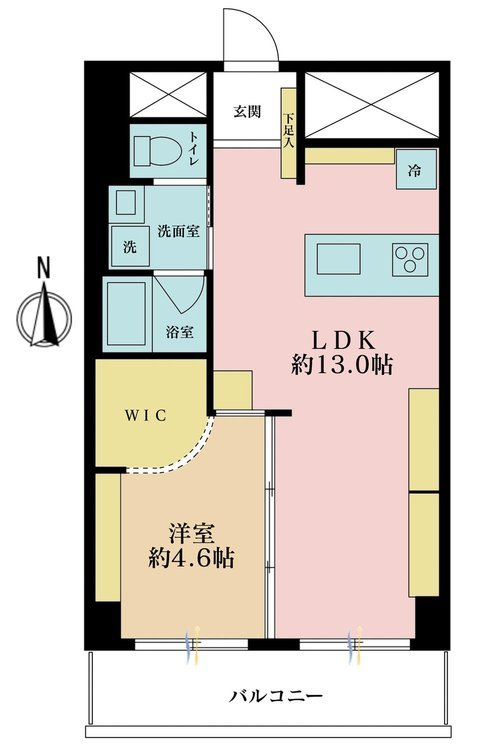 1LDK、価格2880万円、専有面積49.5m2、バルコニー面積6.05m2