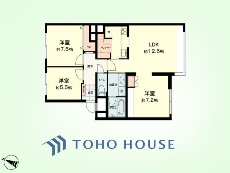 3LDK+パントリー 専有面積86.23平米、バルコニー面積4.8平米、専有庭面積30.60平米