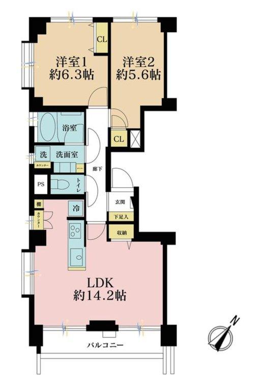 2LDK、価格5190万円、専有面積60.49m2、バルコニー面積5.72m2