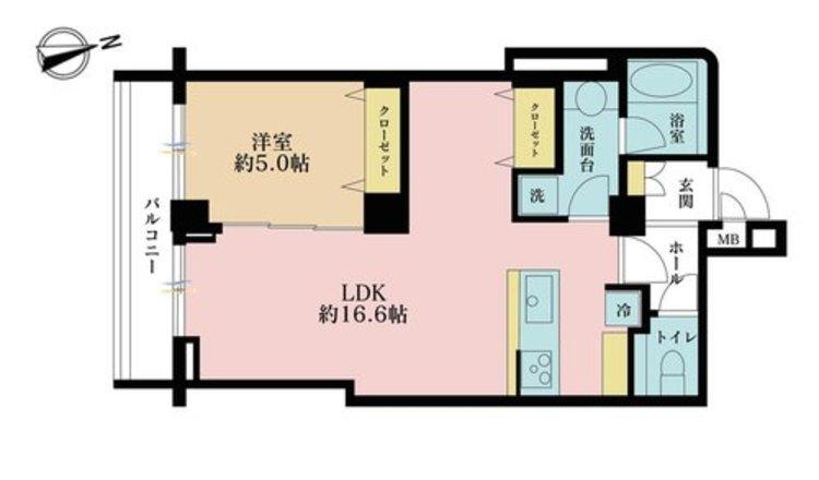 1LDK、価格4390万円、専有面積50.51m2、バルコニー面積5.6m2
