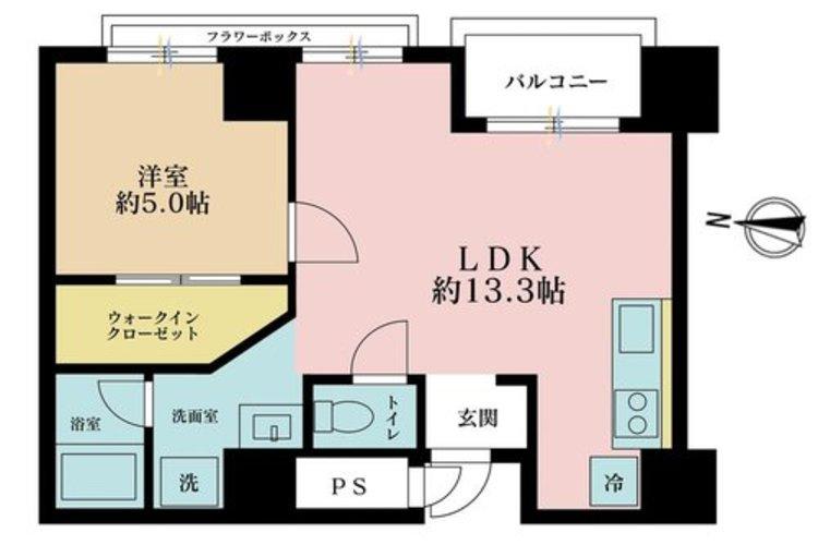 1LDK、価格3580万円、専有面積45.99m2、バルコニー面積1m2