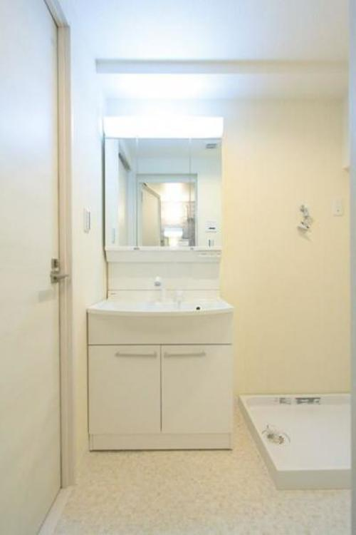 三面鏡の裏は機能的な収納を配置。コンセントも付いているため電動シェーバーや、電動歯ブラシも収納できます。
