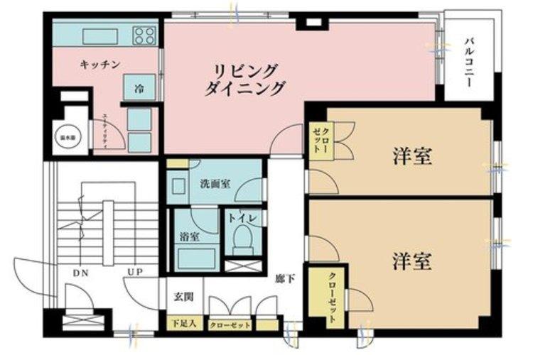 2LDK、価格9680万円、専有面積93.08m2、バルコニー面積1m2