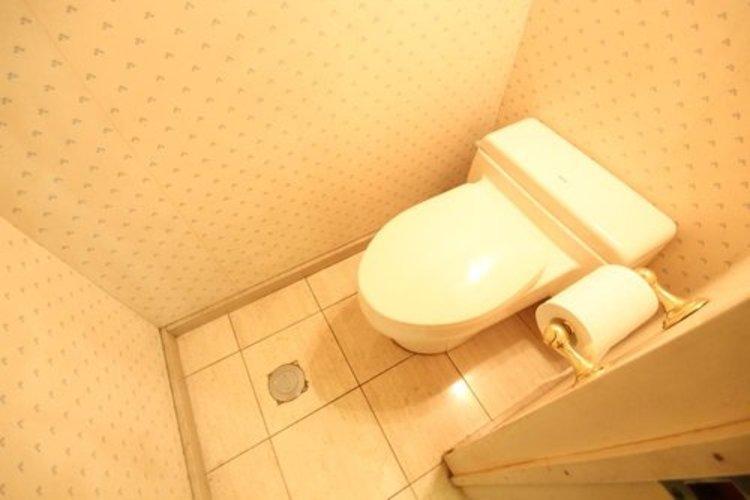 白を基調とした清潔感の高いお手洗い。空間を広く使う工夫が随所に見受けられます。