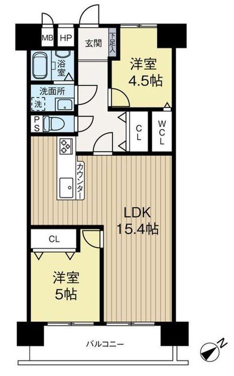 2LDK、価格2590万円、専有面積60.62m2、バルコニー面積8.25m2
