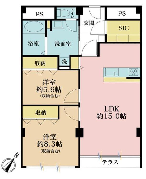 2LDK、価格6880万円、専有面積79.67m2