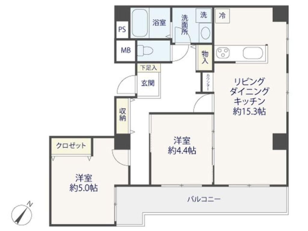 2LDK、専有面積65.84m2、バルコニー面積10.14m2 シングル、ディンクス、3人家族と住まわれる方に合わせられるフレキシブルな間取りです。