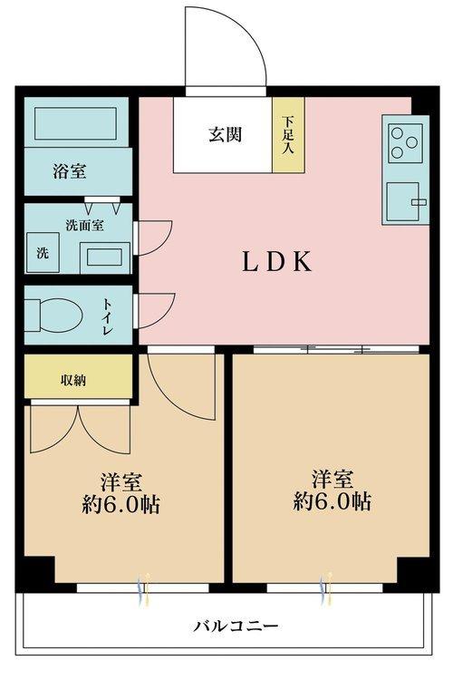 2DK、価格2280万円、専有面積40.5m2、バルコニー面積5m2