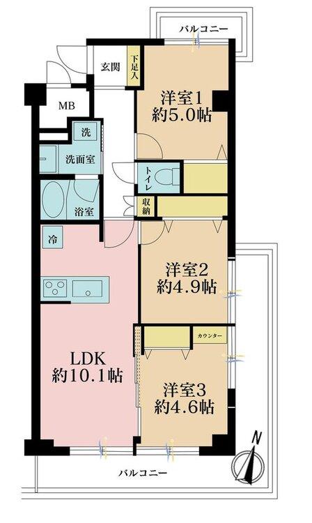 3LDK、価格3380万円、専有面積62.1m2、バルコニー面積17.29m2