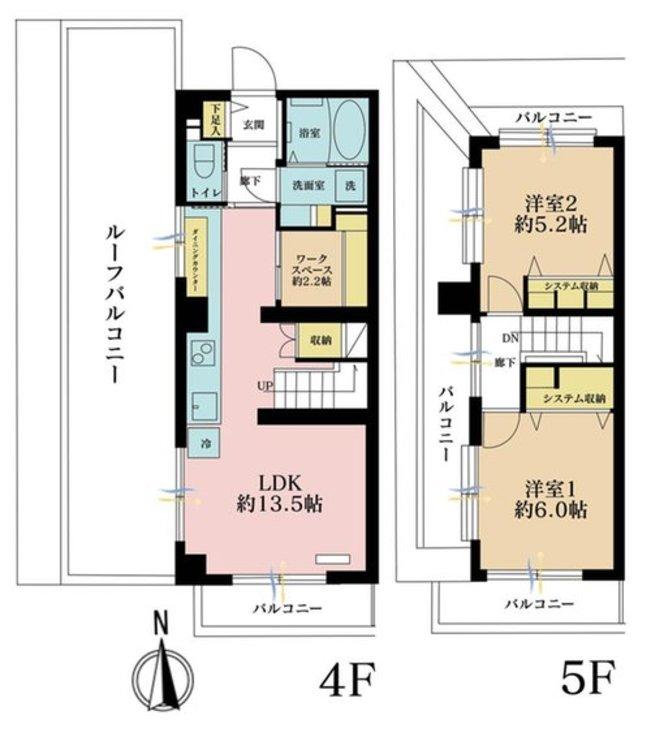 2LDK、価格5899万円、専有面積62.48m2、バルコニー面積46.15m2