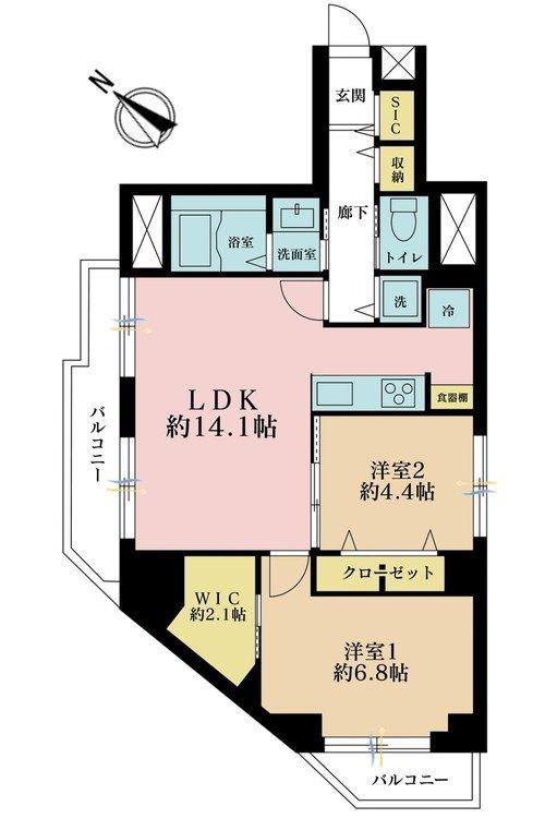 2LDK、価格4699万円、専有面積63.06m2、バルコニー面積7.33m2