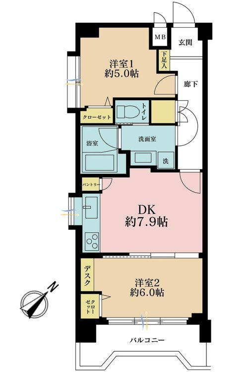 2DK、価格3490万円、専有面積47.36m2、バルコニー面積6m2