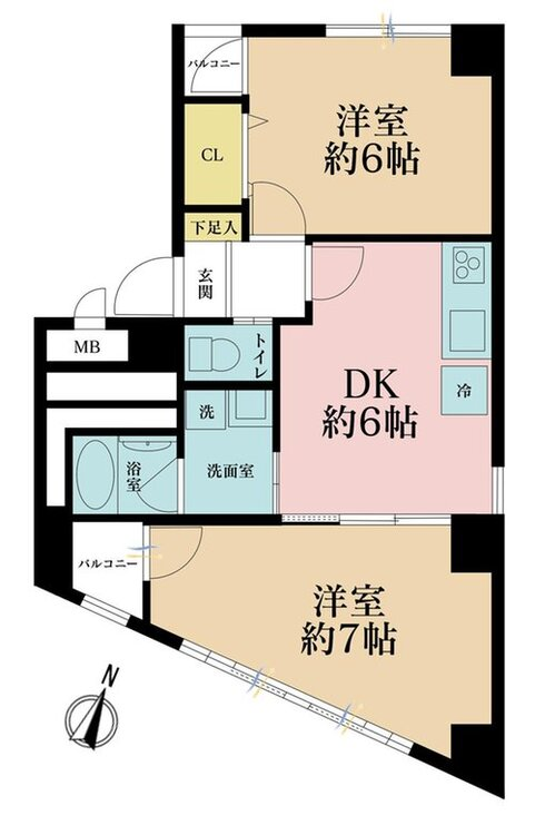 2DK、価格2680万円、専有面積48.9m2