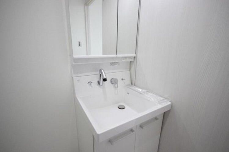 身だしなみを整えやすい事はもちろんですが、収納スペースを設ける事により、散らかりやすい洗面スペースをすっきりさせる事が出来るのも嬉しいです。