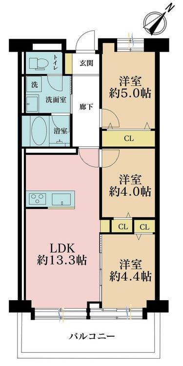 3LDK、価格3999万円、専有面積62.28m2、バルコニー面積6.76m2