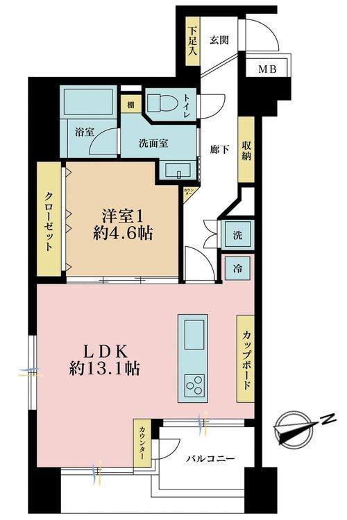1LDK、価格6999万円、専有面積48.69m2、バルコニー面積3.58m2
