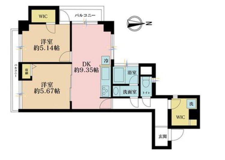 2DK、価格3950万円、専有面積49.5m2、バルコニー面積1.6m2