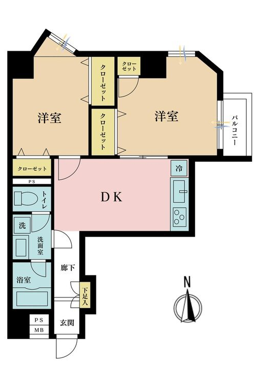 2LDK、価格3499万円、専有面積50.54m2、バルコニー面積2.05m2
