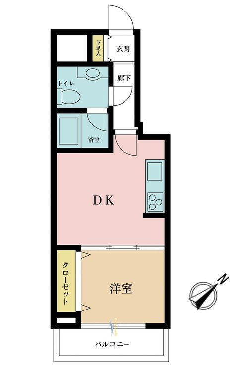1DK、価格2850万円、専有面積30.31m2、バルコニー面積4.26m2