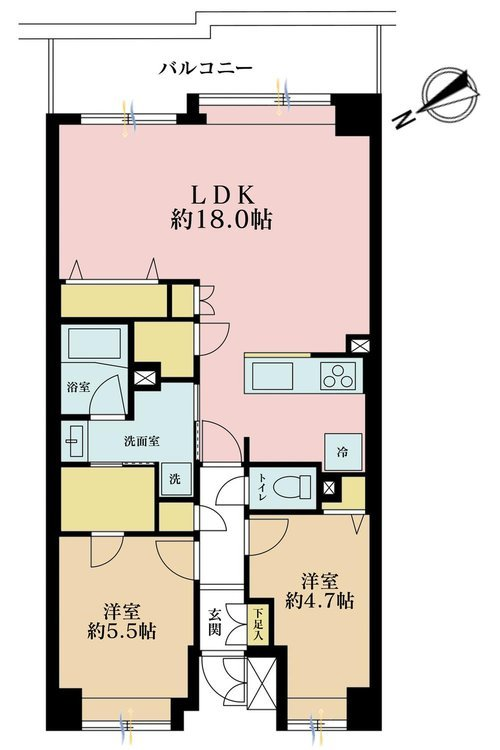 2LDK、価格4990万円、専有面積60.64m2、バルコニー面積9.88m2