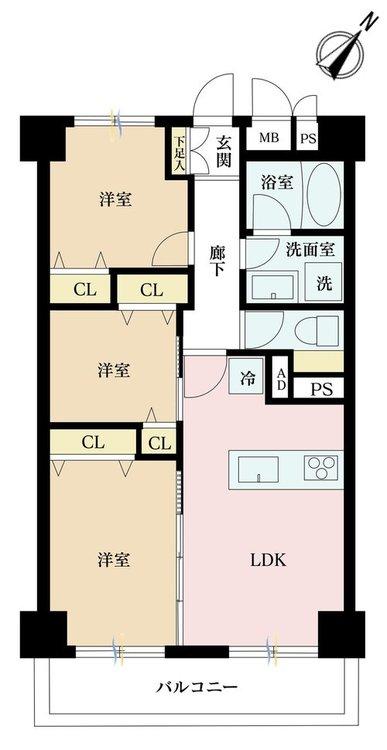 3DK、価格3190万円、専有面積52.25m2、バルコニー面積5.15m2