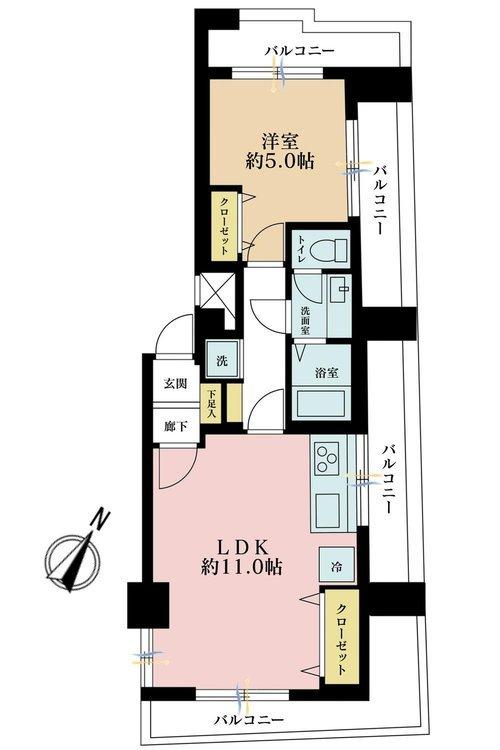 1LDK、価格2998万円、専有面積40.44m2、バルコニー面積18.03m2