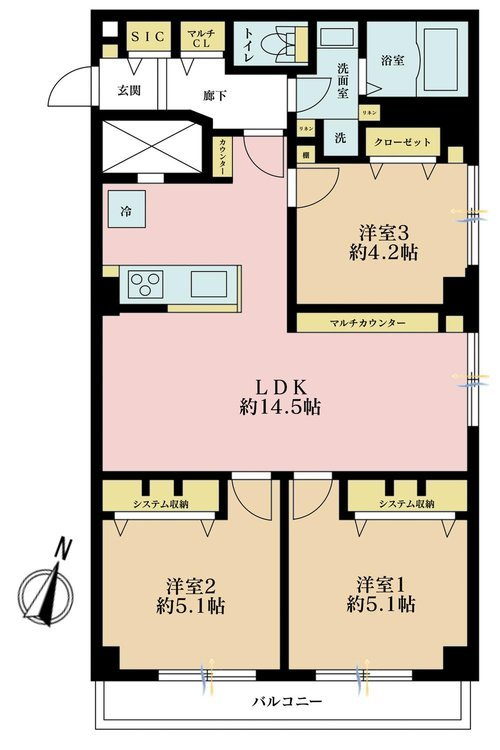 3LDK、価格3480万円、専有面積68.87m2、バルコニー面積6.3m2