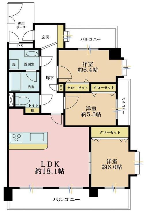 3LDK、価格3670850万円、専有面積80.44m2、バルコニー面積19.09m2