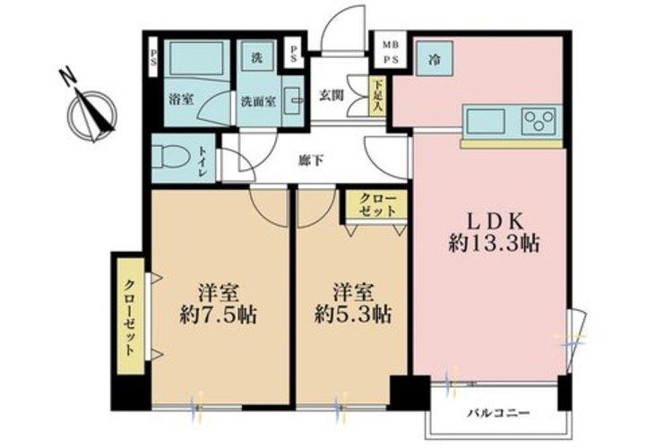 2LDK、価格4680万円、専有面積59.18m2、バルコニー面積2.73m2