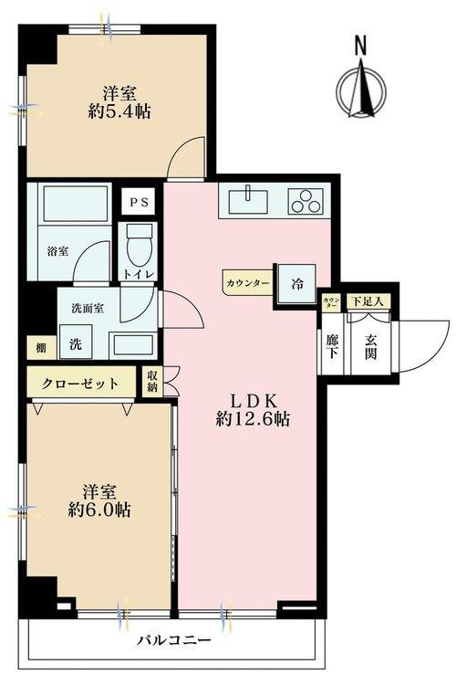 2LDK、価格3590万円、専有面積51.87m2、バルコニー面積4.77m2
