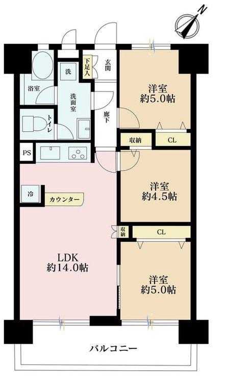 3LDK、価格4690万円、専有面積58.99m2
