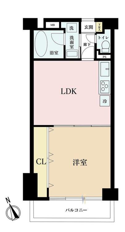 1LDK、価格3690万円、専有面積44.77m2、バルコニー面積5.4m2