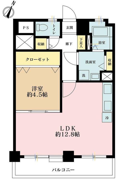 1LDK、価格4080万円、専有面積45.42m2、バルコニー面積7m2