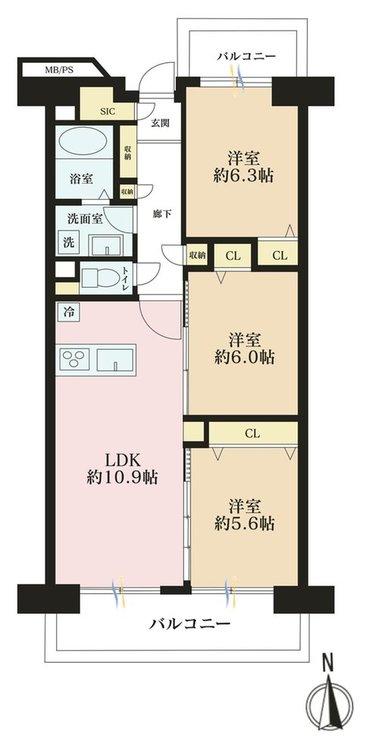 3LDK、価格4190万円、専有面積65.11m2、バルコニー面積11.92m2
