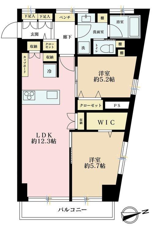 2LDK、価格3788万円、専有面積57.39m2、バルコニー面積4.23m2