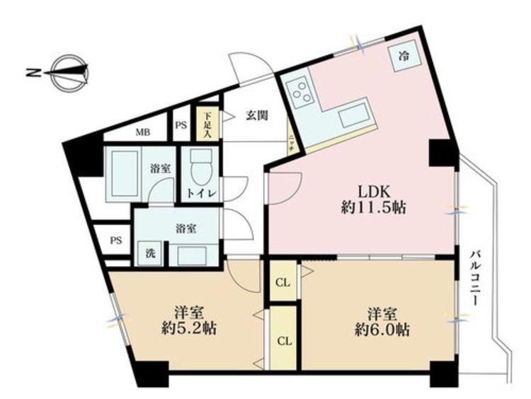 2LDK、価格5390万円、専有面積54.68m2、バルコニー面積5.41m2