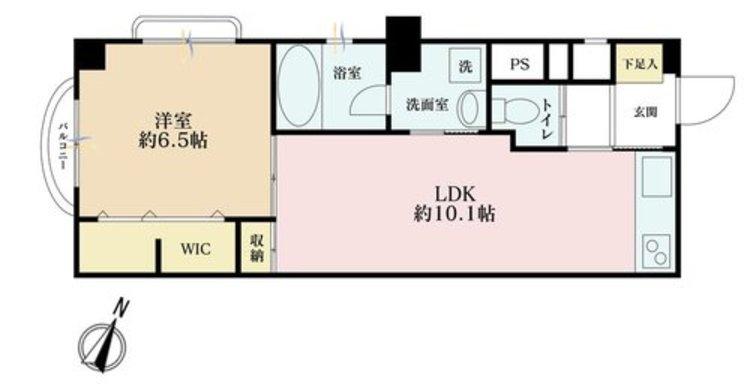 1LDK、価格2800万円、専有面積42.01m2、バルコニー面積1.5m2