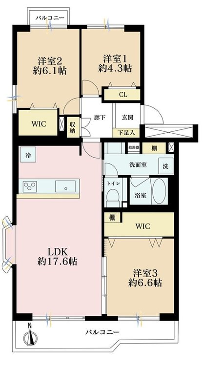 3LDK、価格4480万円、専有面積79.19m2、バルコニー面積10.23m2
