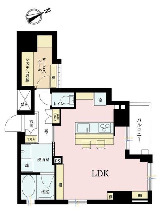 1LDK+S(納戸)、価格5780万円、専有面積43.99m2、バルコニー面積3.12m2