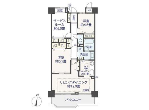 南向きの明るいお部屋♪「多摩川南パークハウス」(renovation)の間取り