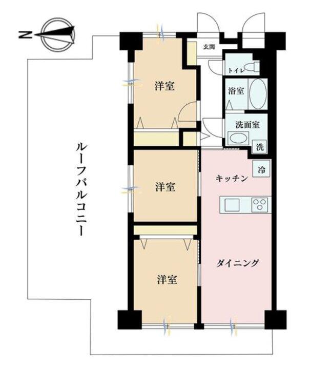 3DK、価格3680万円、専有面積59.4m2、バルコニー面積9.66m2