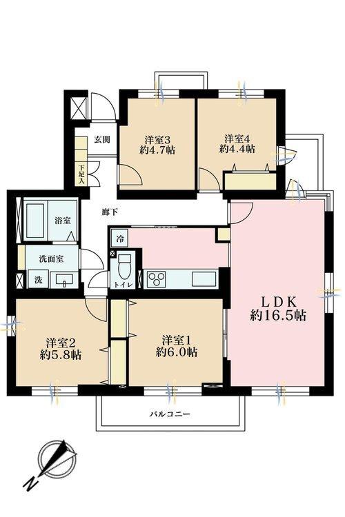 4LDK、価格3398万円、専有面積84.4m2、バルコニー面積7.11m2