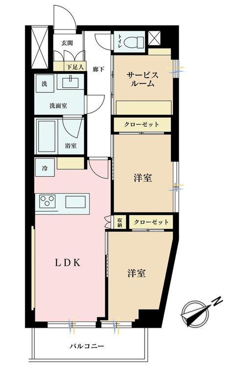 2LDK+S(納戸)、価格4380万円、専有面積57.58m2、バルコニー面積4.48m2
